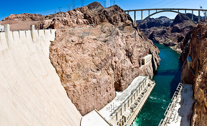 Wide angle view of Hoover Dam and Mike O'Callaghan–Pat Tillman Memorial Bridge