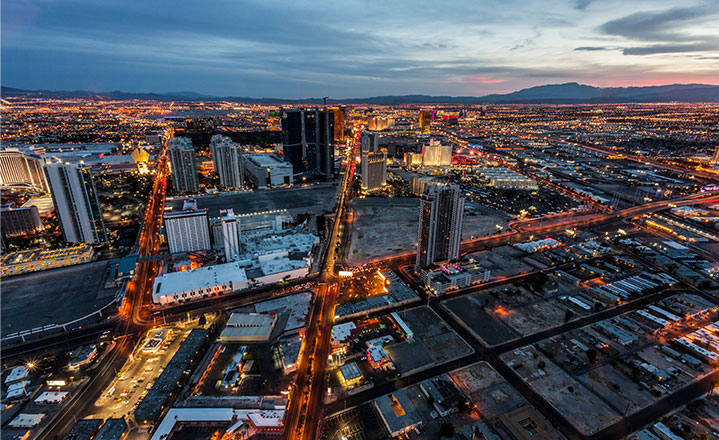 Las Vegas city lights as dusk
