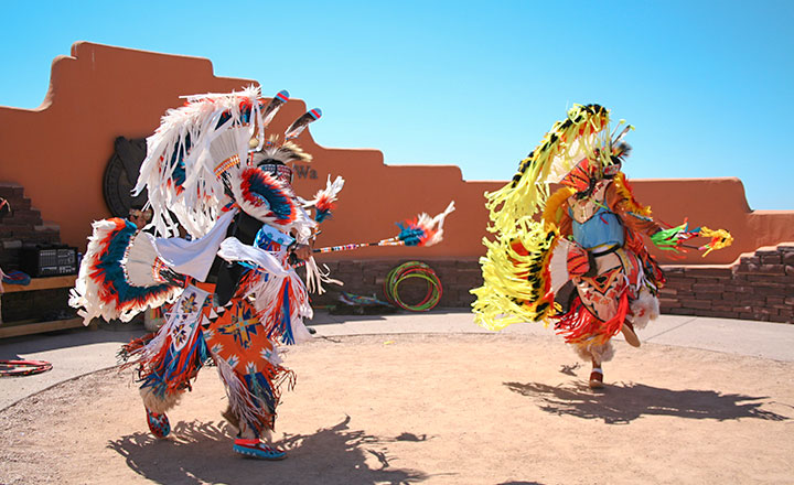 Native American Tribe dancing at West rim of Grand Canyon