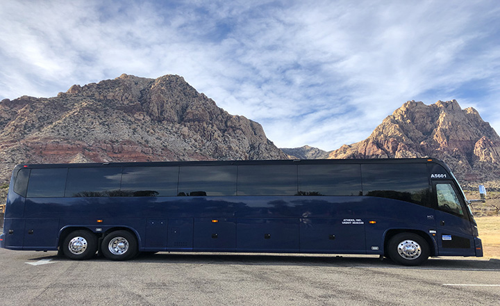 luxury bus used for Grand Canyon tour from Las Vegas