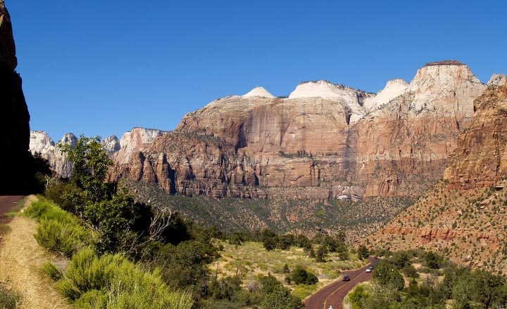 Landscape view within Zion National Park and the highway running through the park.