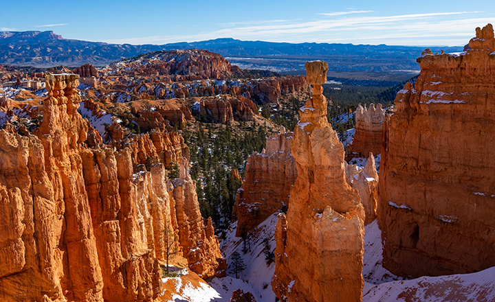 Bryce Canyon National Park in winter with snow