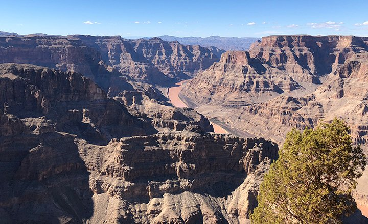 There are many great views of the Colorado River from the West Rim of the Grand Canyon.