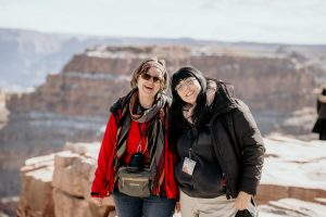 A guest and a walking tour guide on a West Rim tour